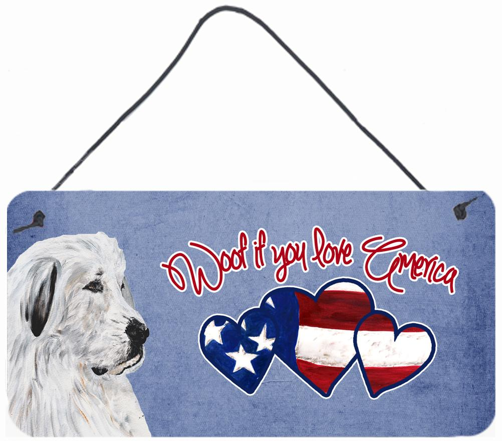 Woof if you love America Great Pyrenees Wall or Door Hanging Prints SC9914DS612 by Caroline's Treasures