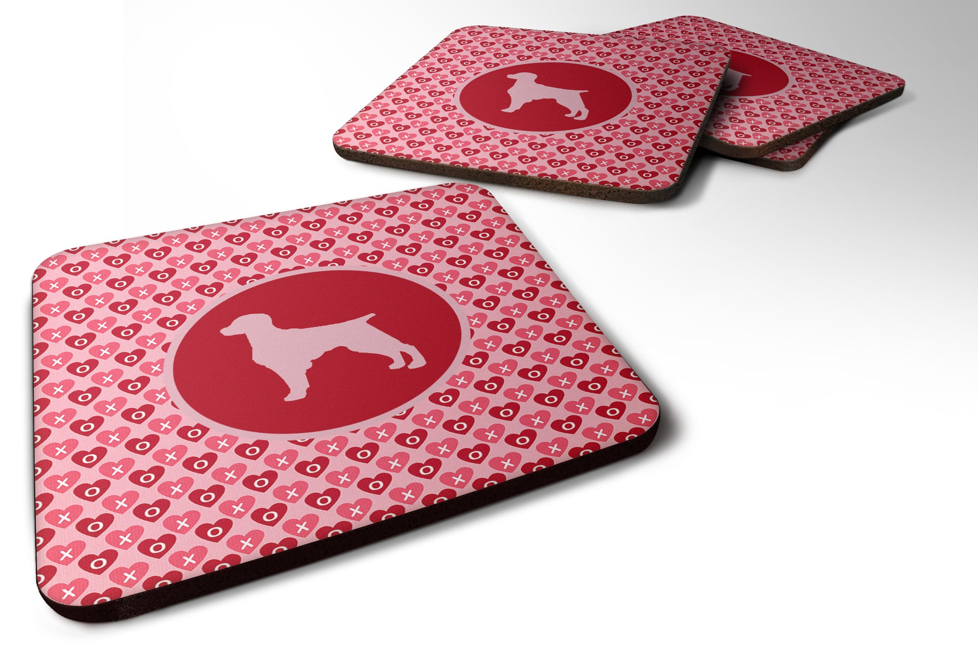Buy this Set of 4 Boykin Spaniel Valentine Hearts Foam Coasters