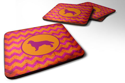 Buy this Set of 4 Flat Coated Retriever Chevron Pink and Orange Foam Coasters