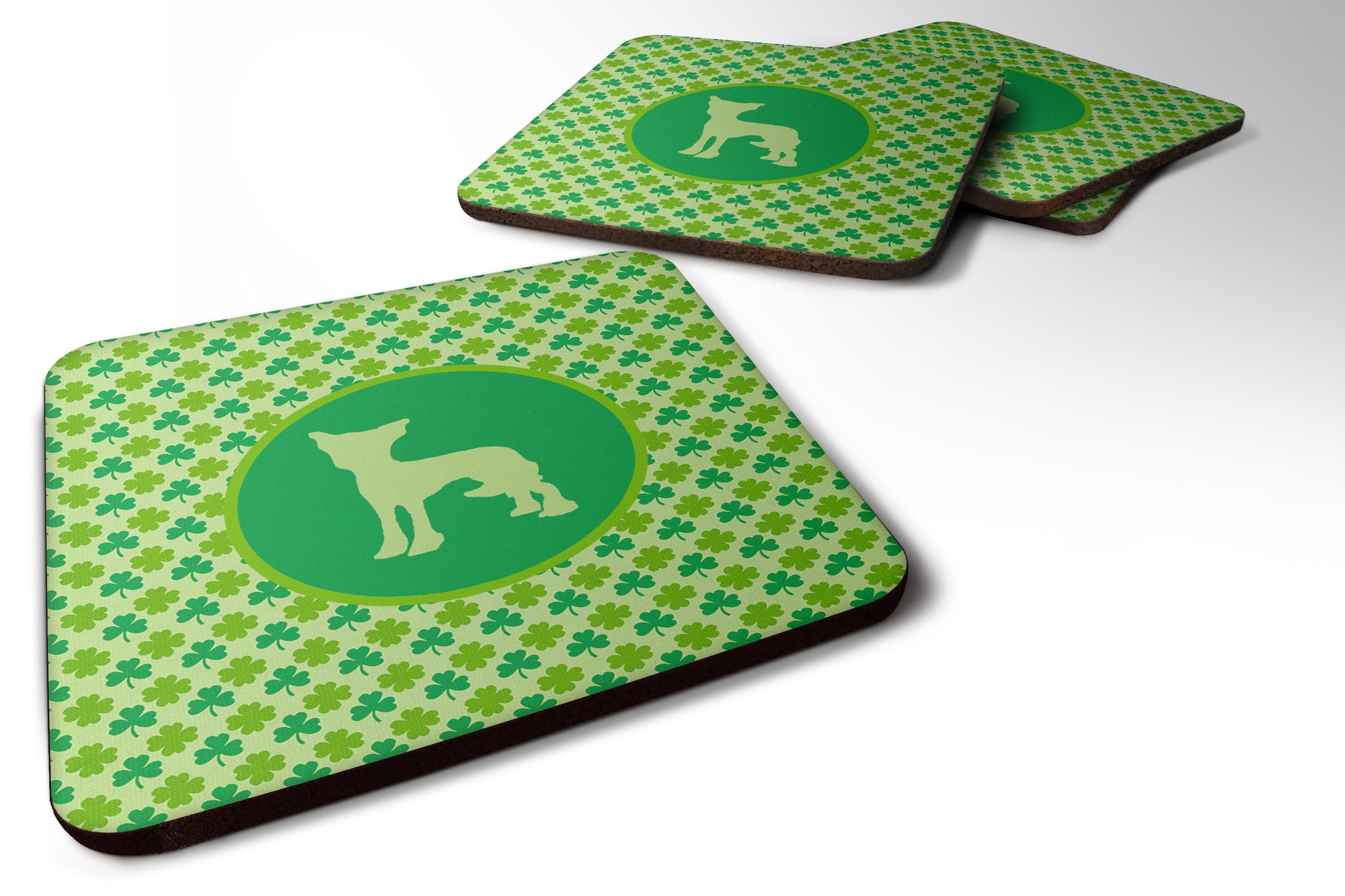 Set of 4 Chinese Crested  Lucky Shamrock Foam Coasters by Caroline's Treasures