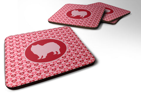 Buy this Set of 4 American Eskimo Valentine Hearts Foam Coasters