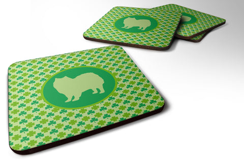 Buy this Set of 4 American Eskimo Lucky Shamrock Foam Coasters