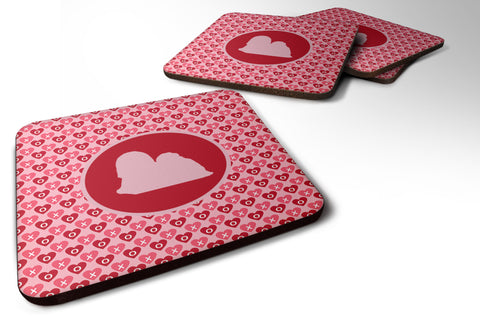 Buy this Set of 4 Lhasa Apso Valentine Hearts Foam Coasters