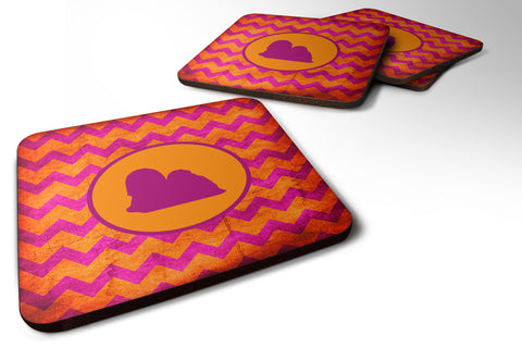 Buy this Set of 4 Lhasa Apso Chevron Pink and Orange Foam Coasters
