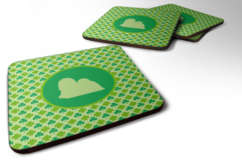 Buy this Set of 4 Lhasa Apso Lucky Shamrock Foam Coasters