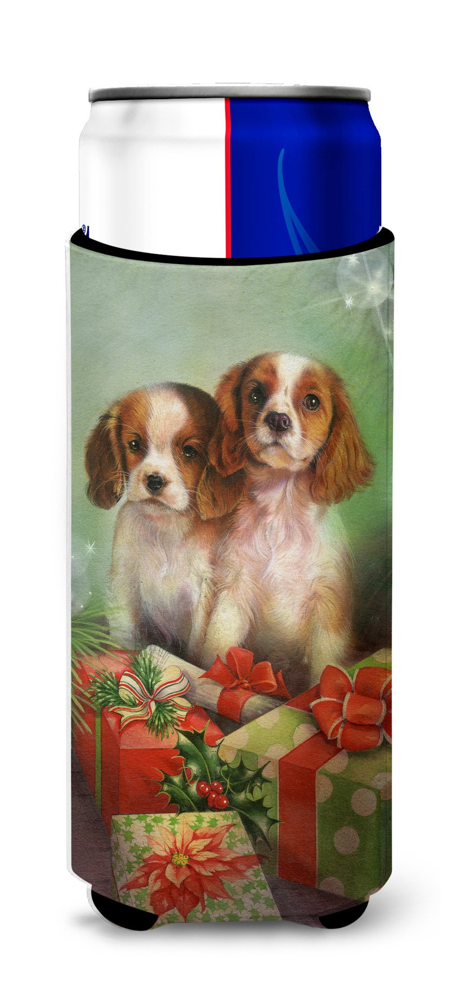 Cavalier Spaniels and Christmas Presents Ultra Beverage Insulators for slim cans SDSQ0303MUK by Caroline's Treasures