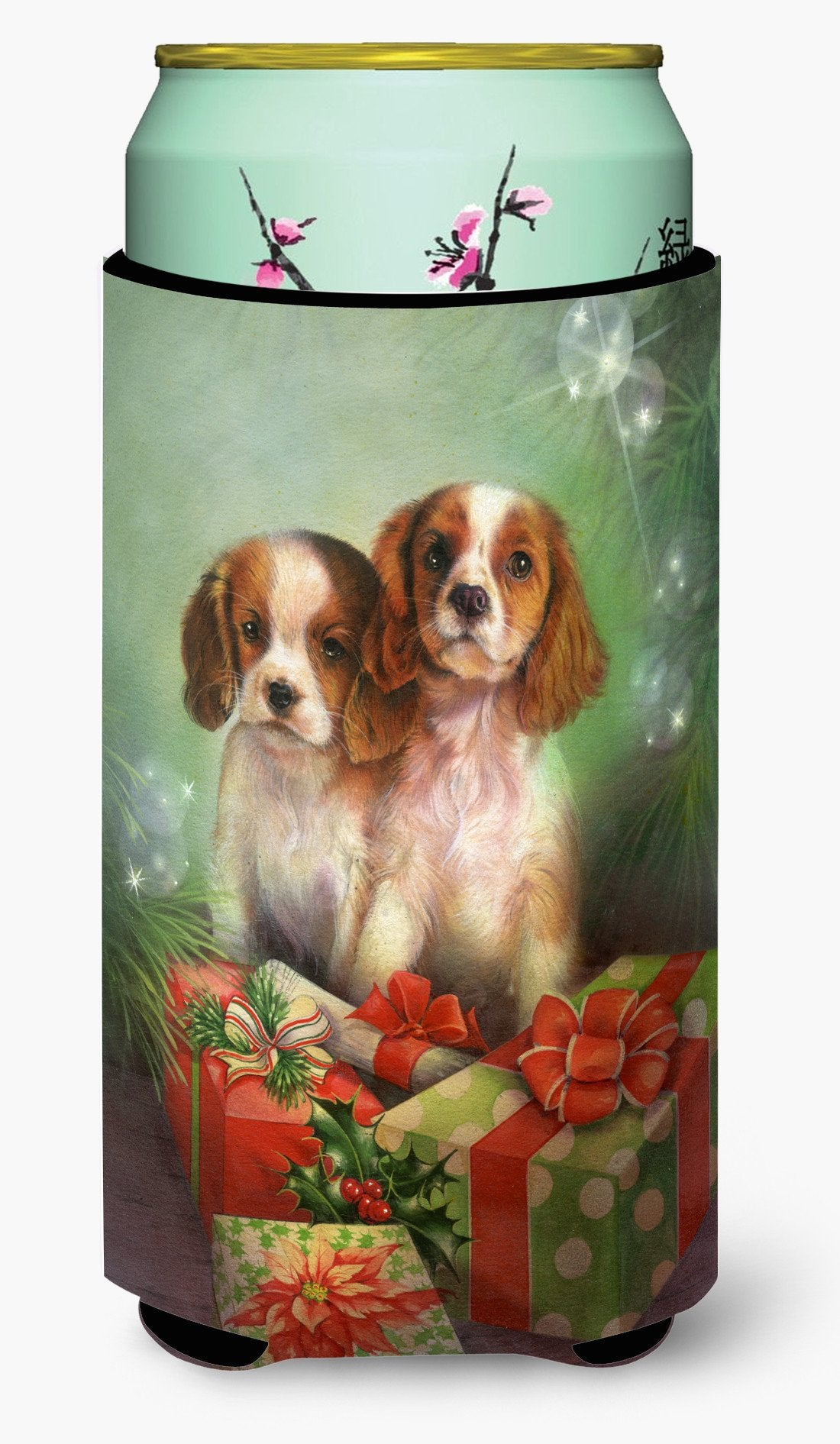 Cavalier Spaniels and Christmas Presents Tall Boy Beverage Insulator Hugger SDSQ0303TBC by Caroline's Treasures