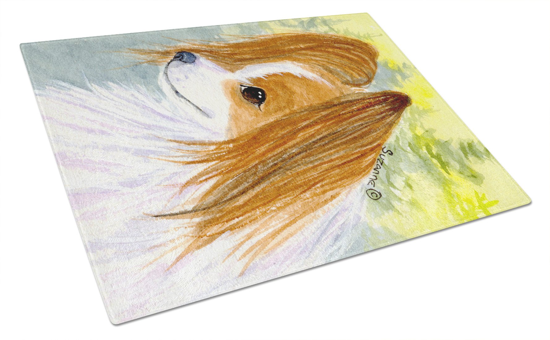 Papillon Glass Cutting Board Large by Caroline's Treasures