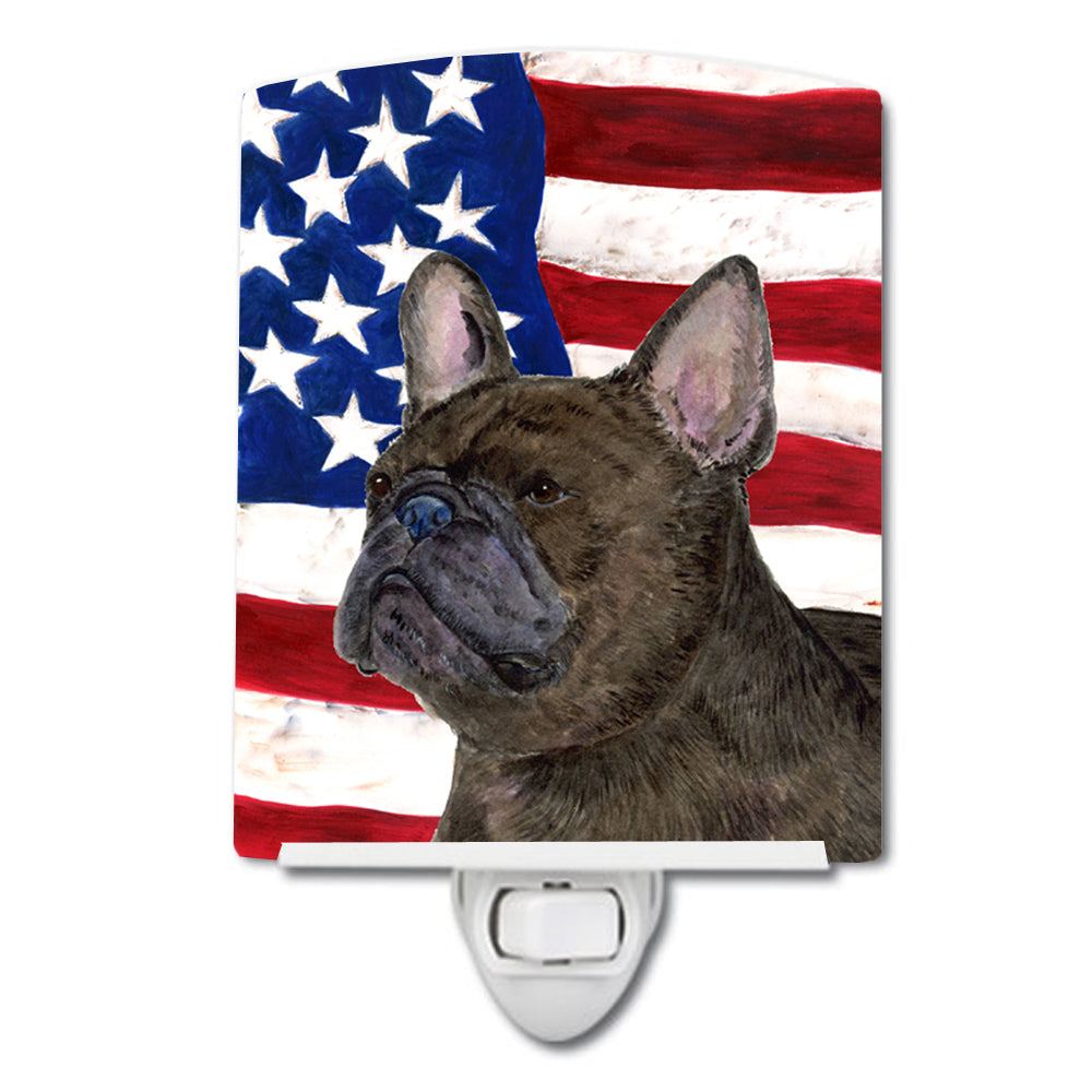 Buy this USA American Flag with French Bulldog Ceramic Night Light SS4003CNL