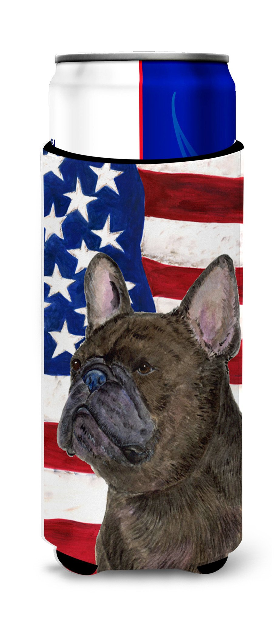 Buy this USA American Flag with French Bulldog Ultra Beverage Insulators for slim cans SS4003MUK