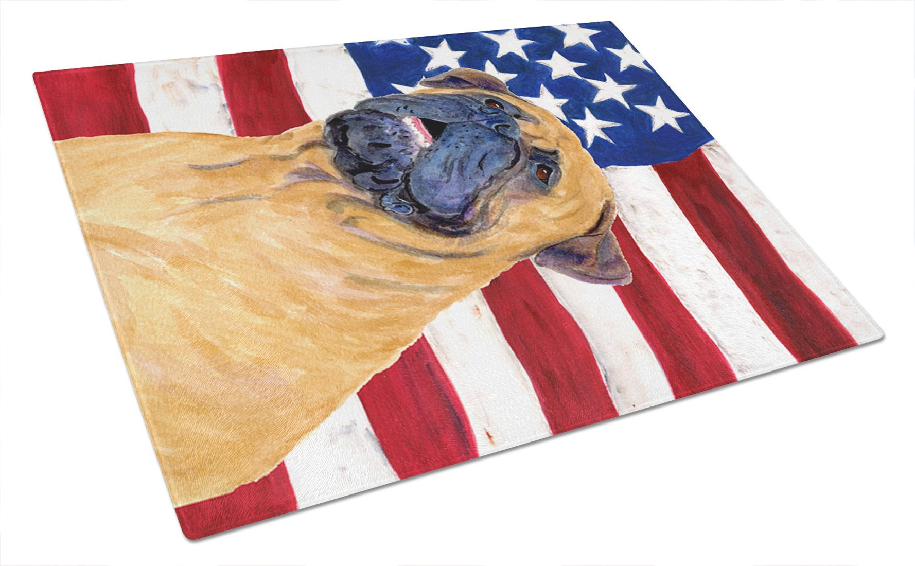 USA American Flag with Bullmastiff Glass Cutting Board Large by Caroline's Treasures