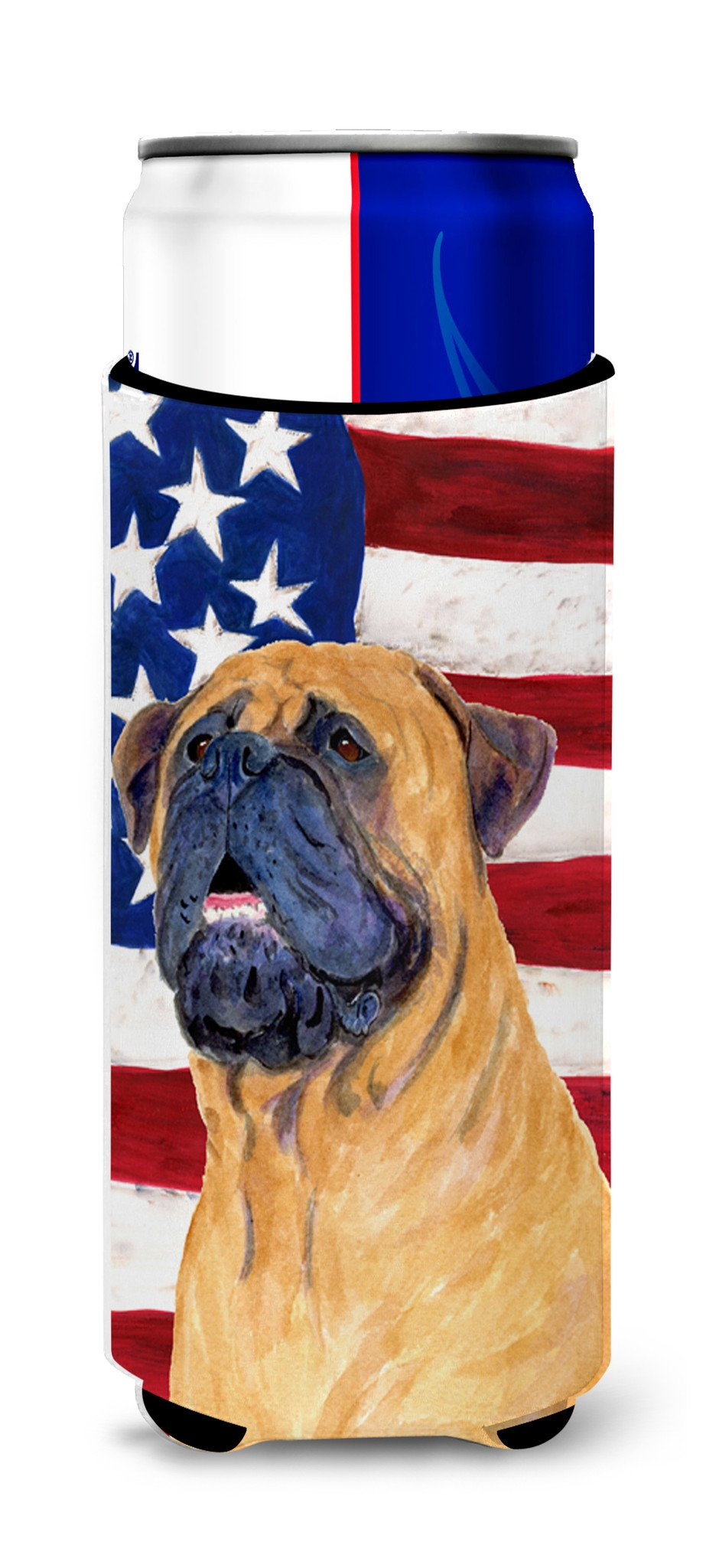USA American Flag with Bullmastiff Ultra Beverage Insulators for slim cans SS4004MUK by Caroline's Treasures