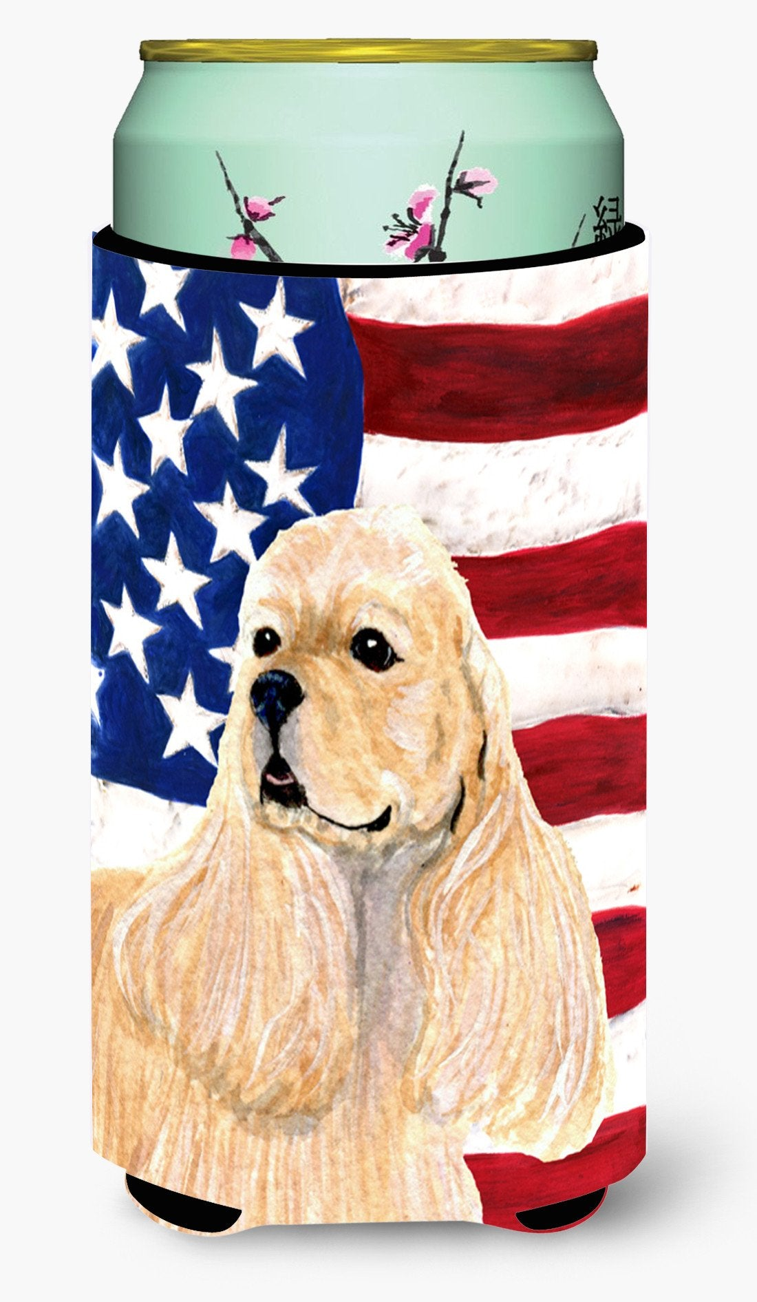 USA American Flag with Cocker Spaniel  Tall Boy Beverage Insulator Beverage Insulator Hugger by Caroline's Treasures