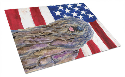 Buy this USA American Flag with Bergamasco Sheepdog Glass Cutting Board Large