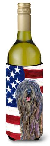 Buy this USA American Flag with Bergamasco Sheepdog Wine Bottle Beverage Insulator Beverage Insulator Hugger