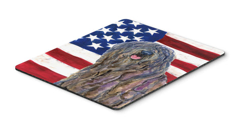 Buy this USA American Flag with Bergamasco Sheepdog Mouse Pad, Hot Pad or Trivet