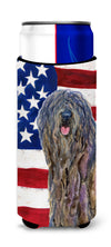 USA American Flag with Bergamasco Sheepdog Ultra Beverage Insulators for slim cans SS4008MUK by Caroline's Treasures
