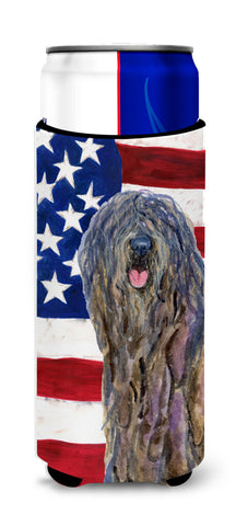 Buy this USA American Flag with Bergamasco Sheepdog Ultra Beverage Insulators for slim cans SS4008MUK