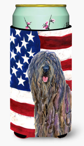 Buy this USA American Flag with Bergamasco Sheepdog  Tall Boy Beverage Insulator Beverage Insulator Hugger