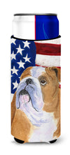 USA American Flag with Bulldog English Ultra Beverage Insulators for slim cans SS4017MUK by Caroline's Treasures