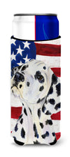 USA American Flag with Dalmatian Ultra Beverage Insulators for slim cans SS4018MUK by Caroline's Treasures