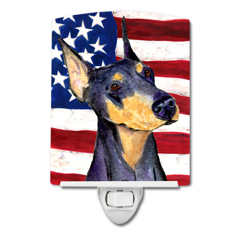 Buy this USA American Flag with Doberman Ceramic Night Light SS4022CNL