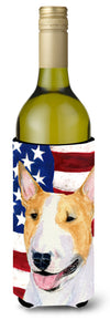 USA American Flag with Bull Terrier Wine Bottle Beverage Insulator Beverage Insulator Hugger by Caroline's Treasures