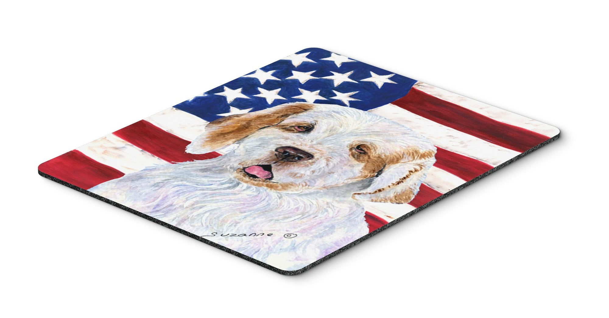 USA American Flag with Clumber Spaniel Mouse Pad, Hot Pad or Trivet by Caroline's Treasures