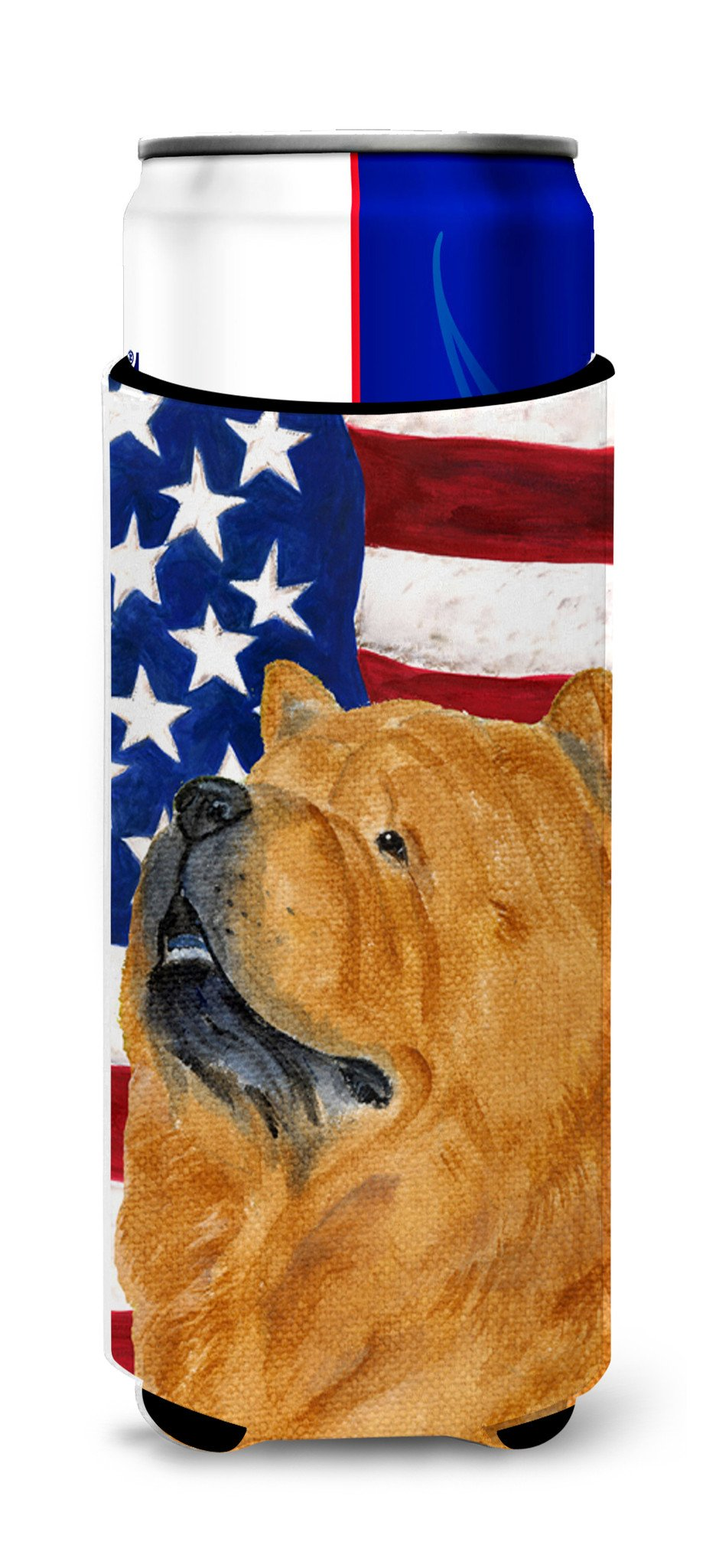 USA American Flag with Chow Chow Ultra Beverage Insulators for slim cans SS4029MUK by Caroline's Treasures
