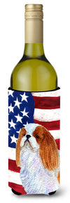 USA American Flag with English Toy Spaiel USA Wine Bottle Beverage Insulator Beverage Insulator Hugger by Caroline's Treasures