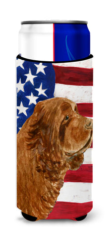 Buy this USA American Flag with Sussex Spaniel Ultra Beverage Insulators for slim cans SS4037MUK