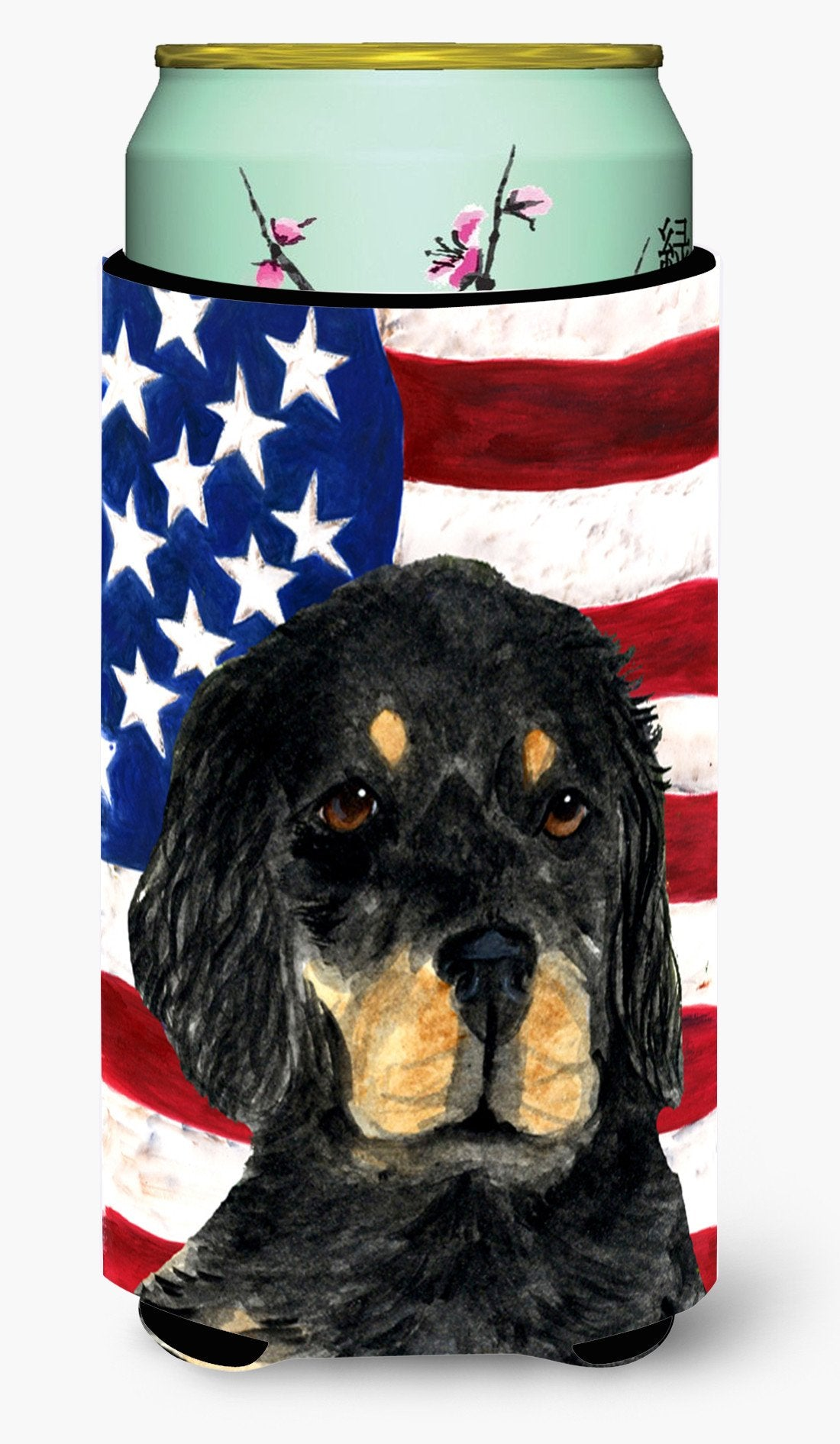 USA American Flag with Gordon Setter  Tall Boy Beverage Insulator Beverage Insulator Hugger by Caroline's Treasures