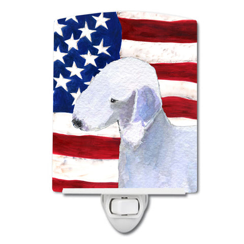 Buy this USA American Flag with Bedlington Terrier Ceramic Night Light SS4045CNL