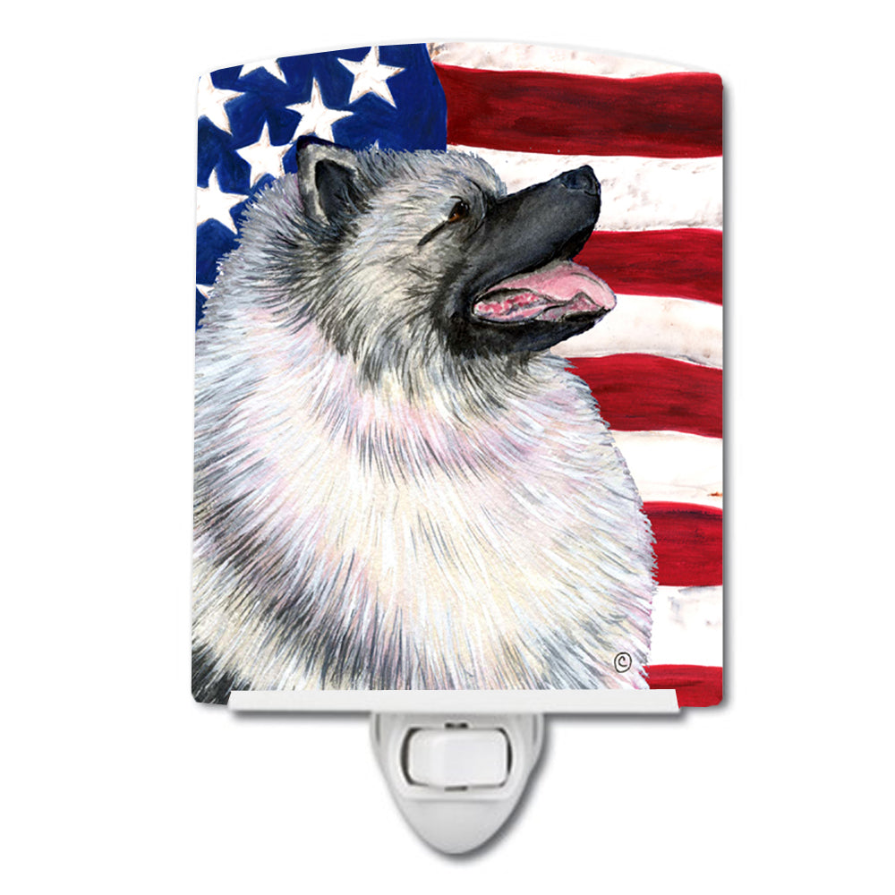 Buy this USA American Flag with Keeshond Ceramic Night Light SS4051CNL