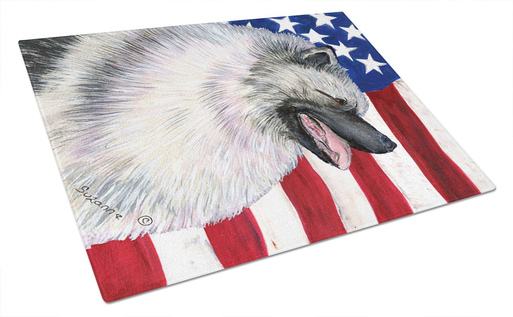 USA American Flag with Keeshond Glass Cutting Board Large by Caroline's Treasures