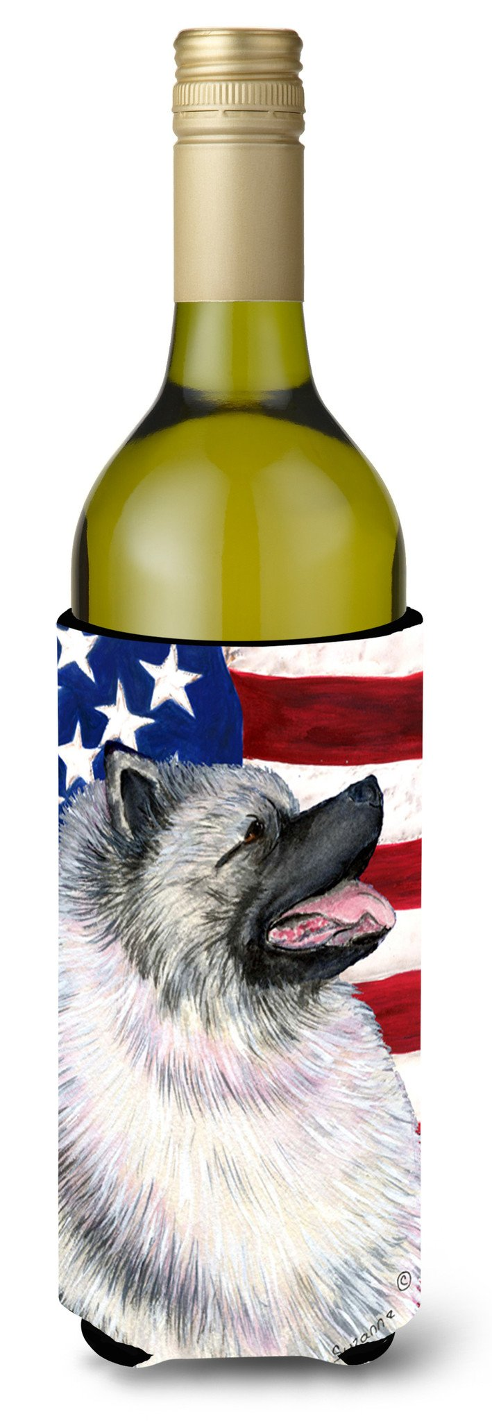 USA American Flag with Keeshond Wine Bottle Beverage Insulator Beverage Insulator Hugger by Caroline's Treasures