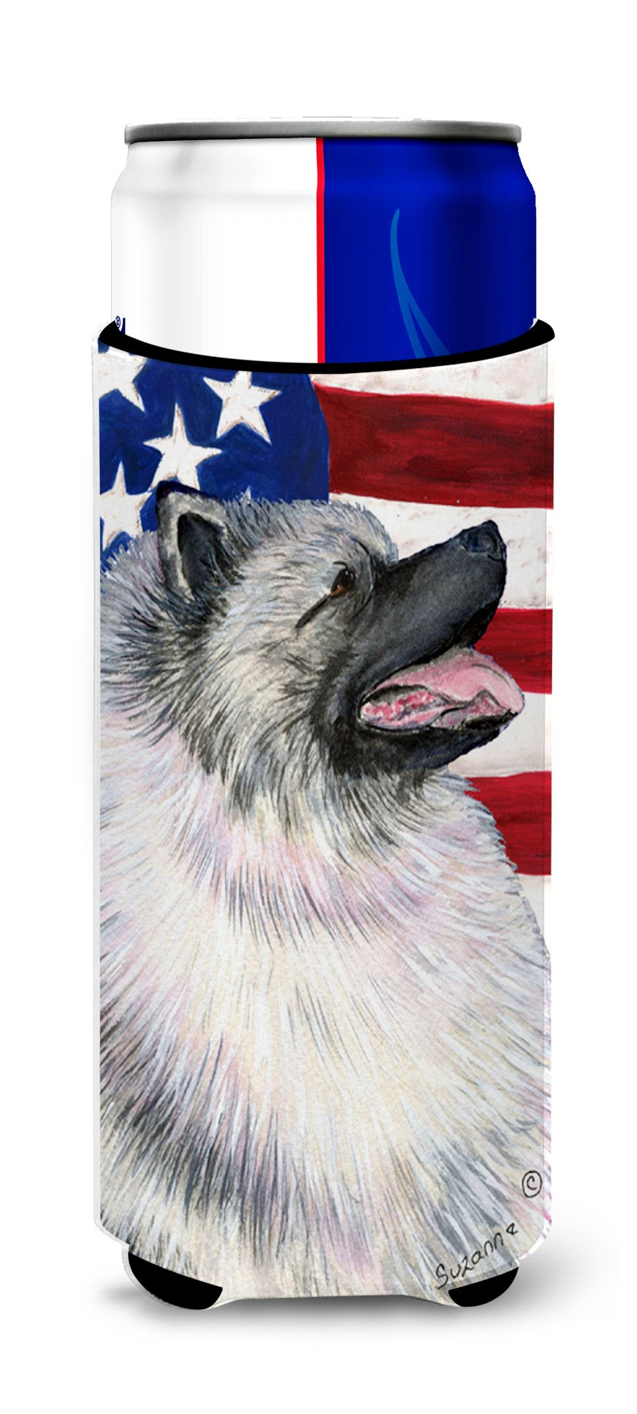 USA American Flag with Keeshond Ultra Beverage Insulators for slim cans SS4051MUK by Caroline's Treasures