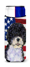 USA American Flag with Portuguese Water Dog Ultra Beverage Insulators for slim cans SS4053MUK by Caroline's Treasures