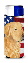 USA American Flag with Golden Retriever Ultra Beverage Insulators for slim cans SS4055MUK by Caroline's Treasures