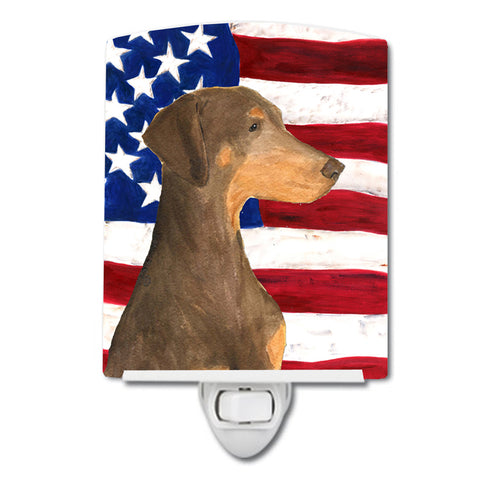 Buy this USA American Flag with Doberman Ceramic Night Light SS4058CNL
