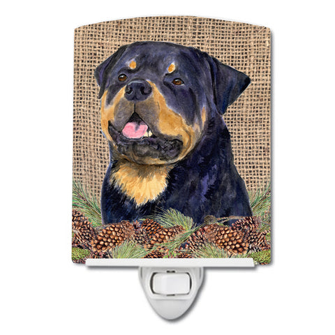 Buy this Rottweiler on Faux Burlap with Pine Cones Ceramic Night Light SS4059CNL