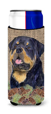 Rottweiler on Faux Burlap with Pine Cones Ultra Beverage Insulators for slim cans SS4059MUK by Caroline's Treasures