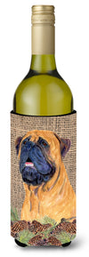 Bullmastiff on Faux Burlap with Pine Cones Wine Bottle Beverage Insulator Beverage Insulator Hugger by Caroline's Treasures
