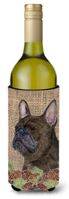 Buy this French Bulldog on Faux Burlap with Pine Cones Wine Bottle Beverage Insulator Beverage Insulator Hugger