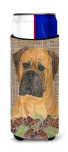 Bullmastiff on Faux Burlap with Pine Cones Ultra Beverage Insulators for slim cans SS4065MUK by Caroline's Treasures