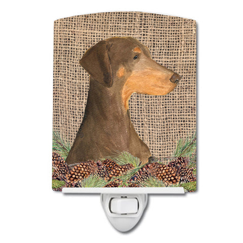 Buy this Doberman on Faux Burlap with Pine Cones Ceramic Night Light SS4070CNL