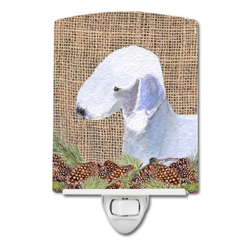 Buy this Bedlington Terrier on Faux Burlap with Pine Cones Ceramic Night Light SS4074CNL