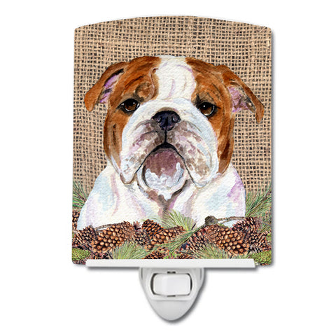 Buy this Bulldog English on Faux Burlap with Pine Cones Ceramic Night Light SS4075CNL