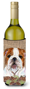 Buy this Bulldog English on Faux Burlap with Pine Cones Wine Bottle Beverage Insulator Beverage Insulator Hugger