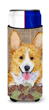 Corgi on Faux Burlap with Pine Cones Ultra Beverage Insulators for slim cans SS4077MUK by Caroline's Treasures